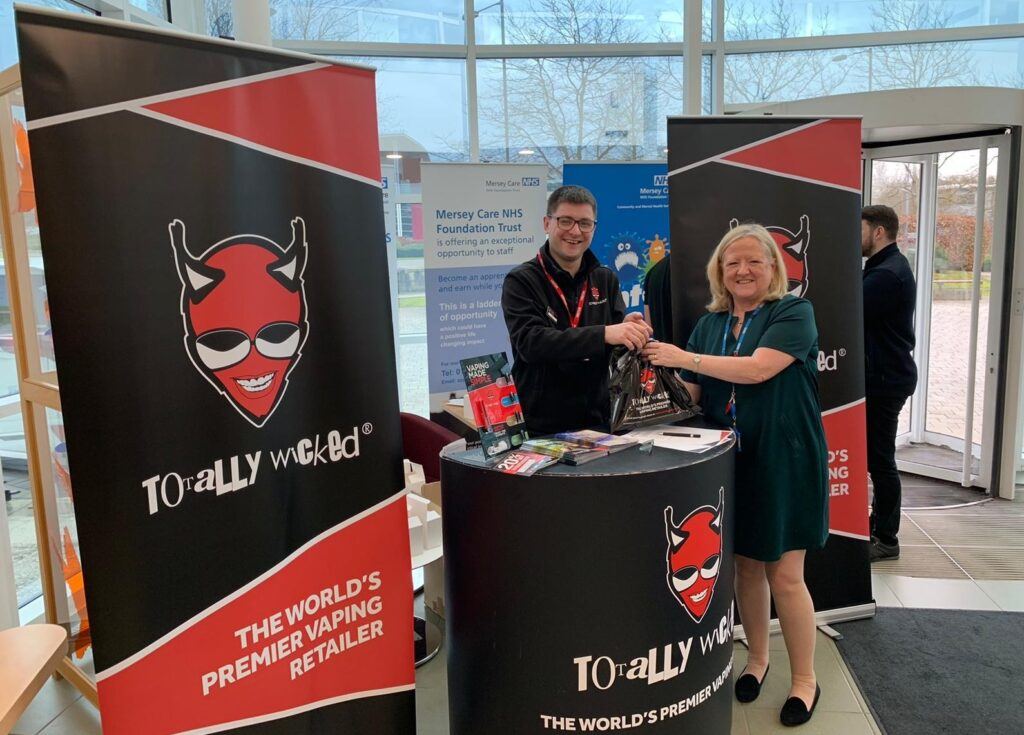 Mersey care NHS Foundation staff member receiving free  byte e-cigarette
