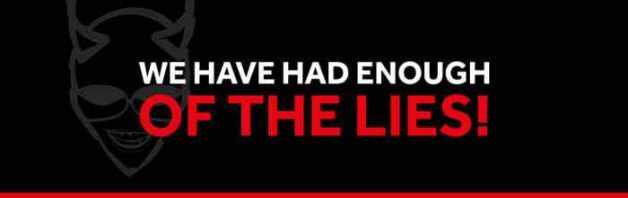 WE HAVE HAD ENOUGH OF THE LIES vaped banner
