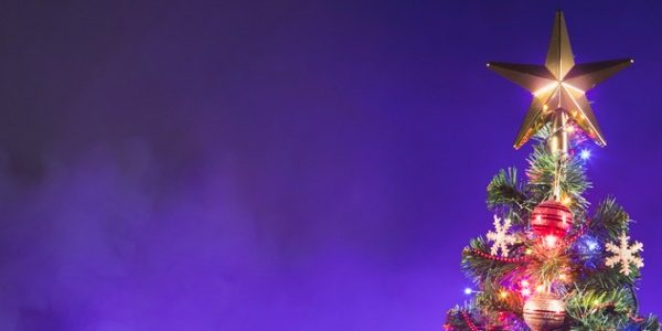 Image of christmas tree with stealth vaping clouds