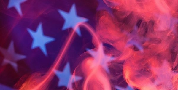 USA flag with vapour