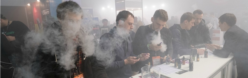 Visitors at a vaping expo