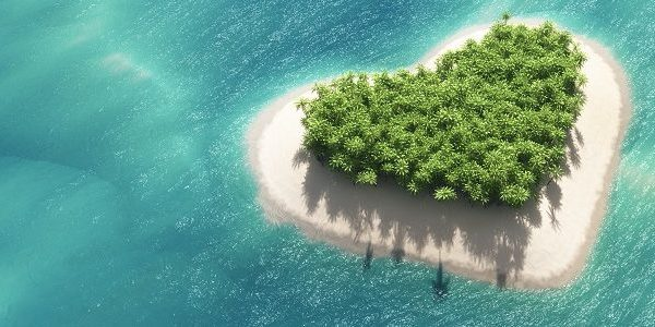 love heart shaped island