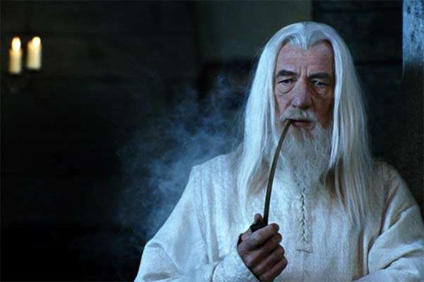 Gandalf smoking