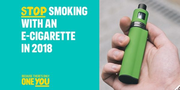 Stop smoking with an e-cigarette poster