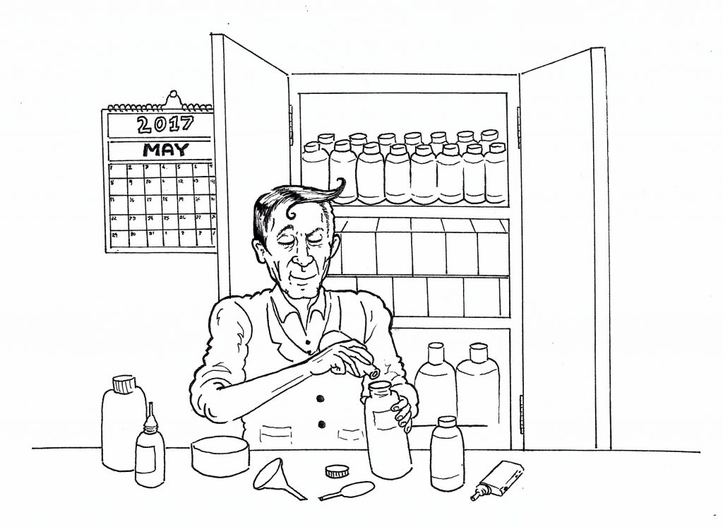 Vaping Vic mixes e-liquid whilst he can