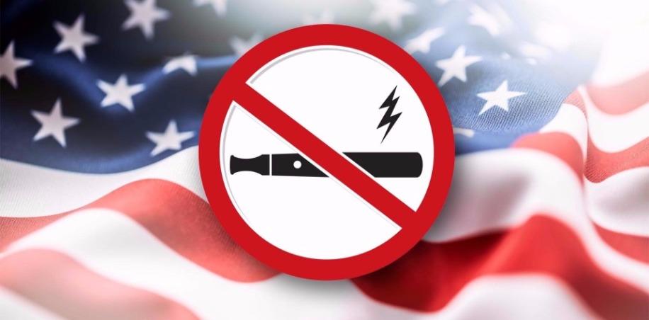 No Vaping Sign and USA Flag
